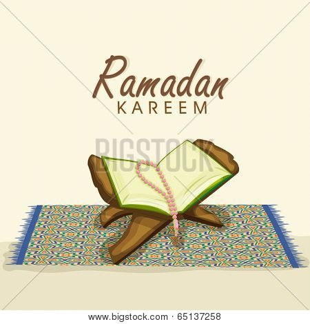 Open islamic holy book Quran Shareef with prayer beads on carpet and stylish text Ramadan Kareem.
