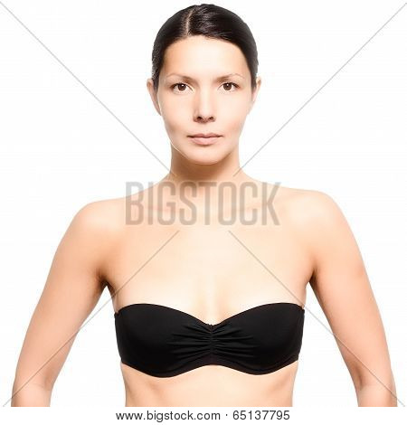 Attractive Young Woman Wearing A Black Bra