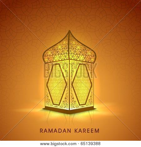 Illuminated arabic lamp or lantern design on shiny brown background for holy month of muslim community Ramadan Kareem.