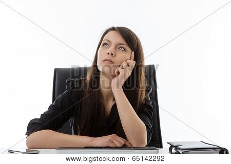 Business Woman Sitting At Her Desk