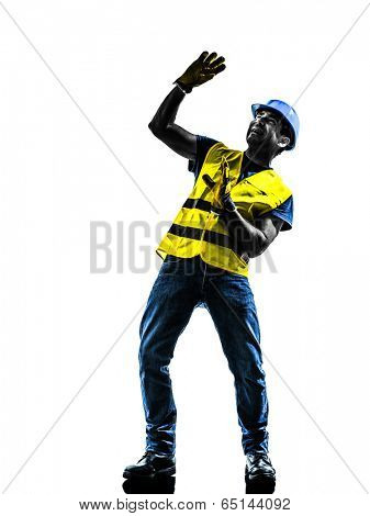 one  construction worker danger risk with safety vest silhouette isolated in white background