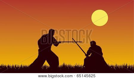 Two Men Are Occupied With Aikido Against The Yellow Sky