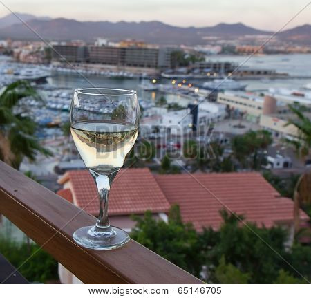 Evening View With Glass Of White Wine