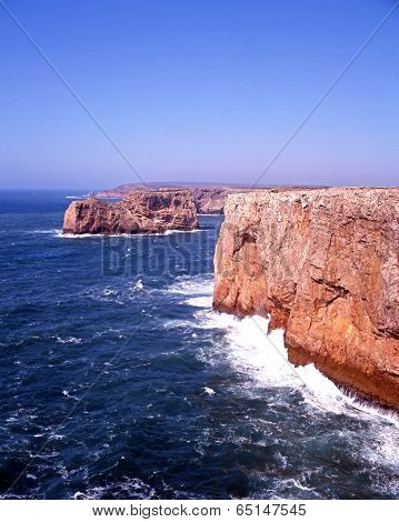 Coastline at Cape St Vincent, Portugal.