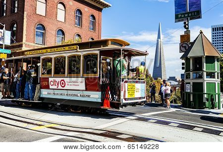 Cable Car And Transamerica Building In San Francisco