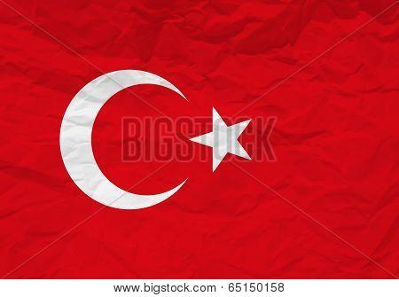 Turkey Flag Crumpled Paper