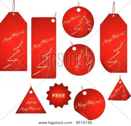 Red christmas sale labels