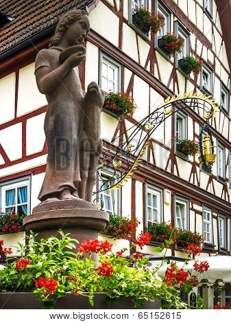 Fairy tale fountain in Lohr am Main in Spessart Mountains, Germany