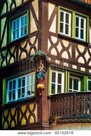 Half timbered house in Lohr am Main in Spessart Mountains, Germany