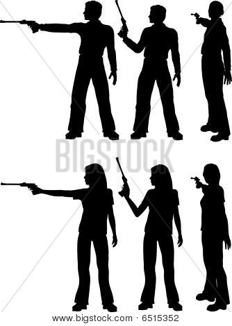 Silhouette Man Woman Shoot Target Pistol
