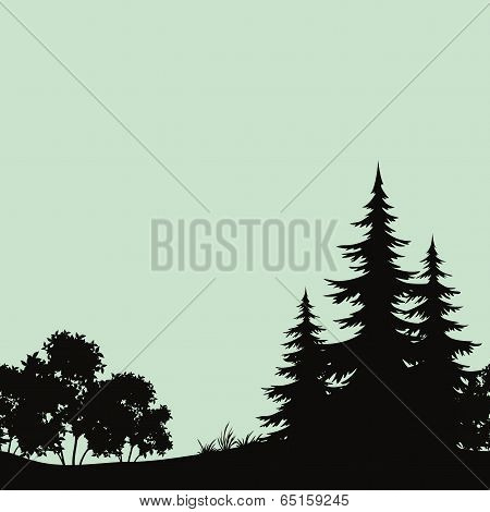 Seamless landscape, night forest silhouettes