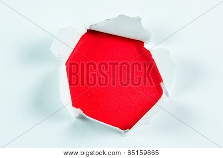 Breakthrough Torn Big Black Hole In Red Paper