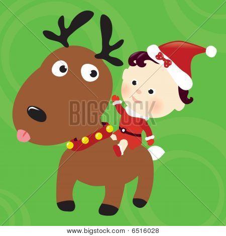 Christmas reindeer and child