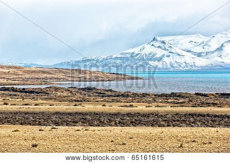 Beautiful landscape in El Calmpty road surrosnow in El Calafate, Patagonia Argentina