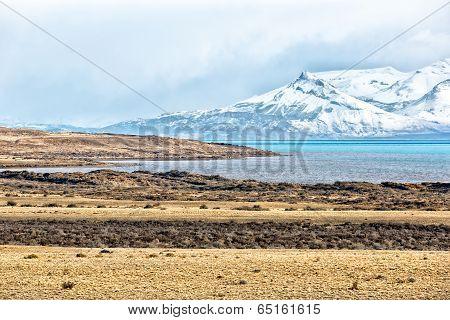 Beautiful landscape in El Calmpty road surrosnow in El Calafate, Patagonia Argentina