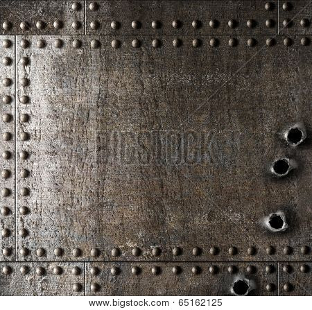 Damaged metal background with bullet holes