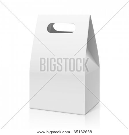 White blank hand cake, bread packaging paper bag. Vector.