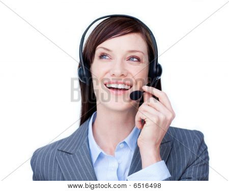 Portrait Of A Young Customer Service Agent With Headset On