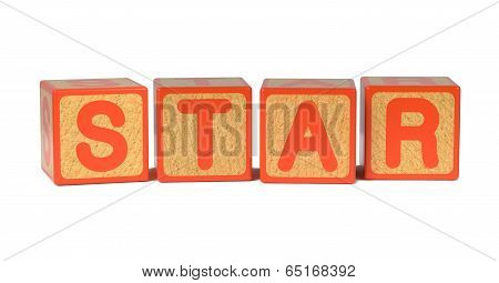 Star - Colored Childrens Alphabet Blocks.