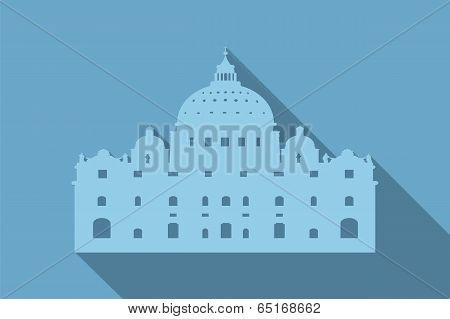 World landmark, St Peter's Basilica, Rome, Vatican, vector illustration
