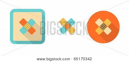 Three Colorful Icons In Flat Style - Plaster
