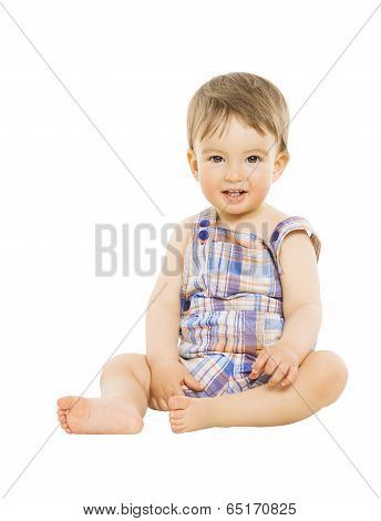 Little Boy Baby Hapy Smiling, Kid Sitting Over Isolated White Background