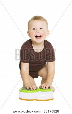 Happy Little Boy Baby Crawling And Looking Up. Smiling Kid Isolated White Background