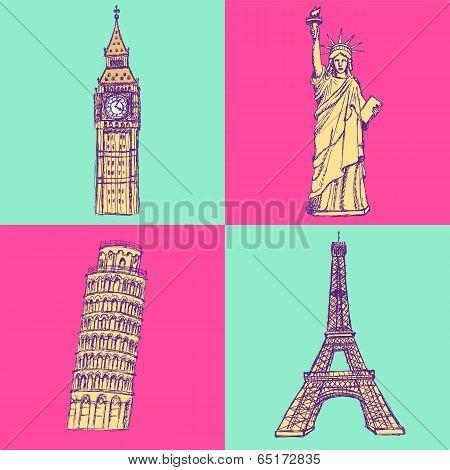 Sketch Eifel Tower, Pisa Tower, Big Ben And Statue Of Liberty, Vector Set