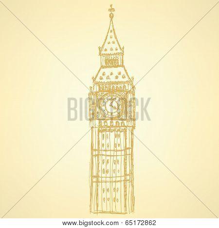 Sketch Big Ben, Vector  Background Eps 10