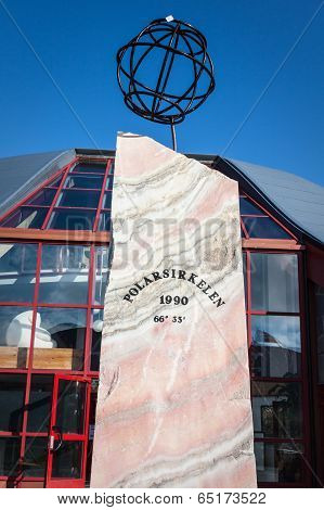 Norway: A Large Wooden Compass Marks The Arctic Circle