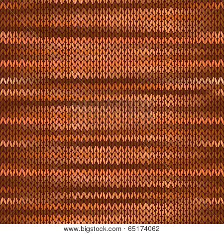 Seamless Knitted Melange Pattern. Orange Brown Color Vector Illu