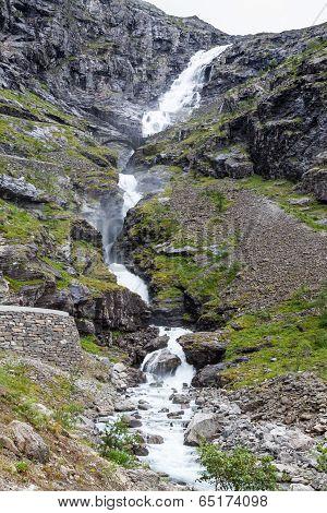 Waterfall Named Stigfossen, Close By The Famous Trollstigen Road