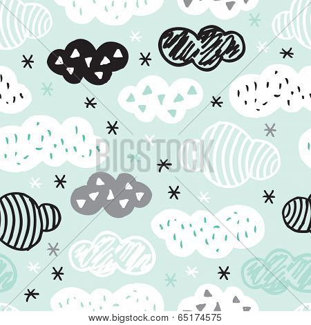 Seamless geometric cloud pattern with aztec details and pastel color background wallpaper in vector