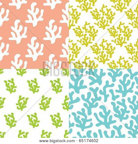 Seamless deep sea colorful coral trend background pattern set in pastel color in vector