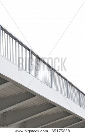 Steel Bridge Girder Span, Blue Grey Metal Pillar Rails, Modern Contemporary Industrial Flyover
