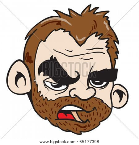 grumpy bearded man cartoon illustration