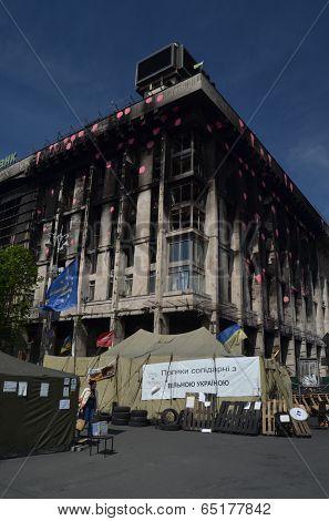 KIEV, UKRAINE - APR 28, 2014: Polish support Putsch of Junta in Kiev. Burned Kiev with poster - Poland agree with protesters ( Ukrainian).Tent of Polish rioters in Kiev.April 28, 2014 Kiev, Ukraine