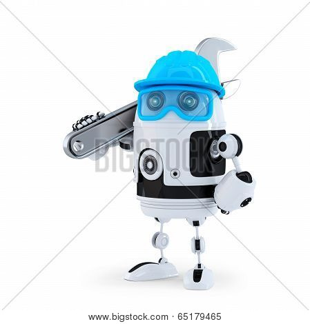 3D Robot With Adjustable Wrench. Technology Concept. Isolated. Contains Clipping Path