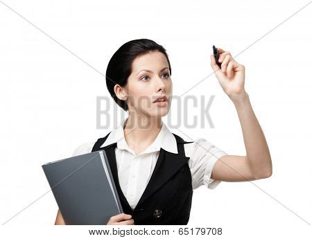 Business woman with folder writing on the invisible screen with marker, isolated on white. Career ladder