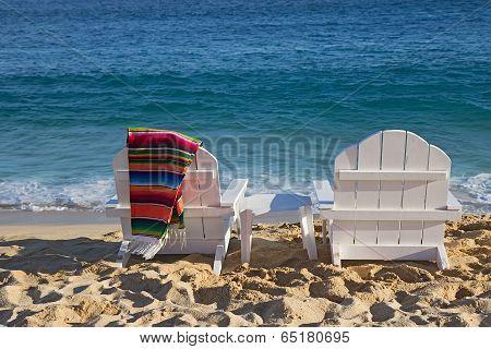 Two Beach Chairs Near Ocean