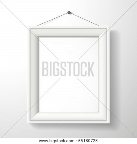 3D Vector Blank Frame On White Wall