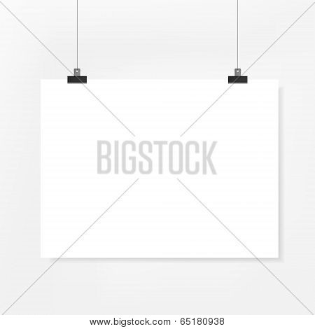 Blank Poster Paper On White Background