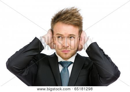 Half-length portrait of white collar closes his ears, isolated on white. Concept of noise and stress