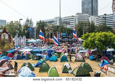 Bangkok - February 2: Protesters Camp Site At Victory Monument