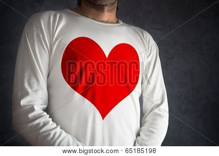 Man In White Shirt With Big Red Heart Printed