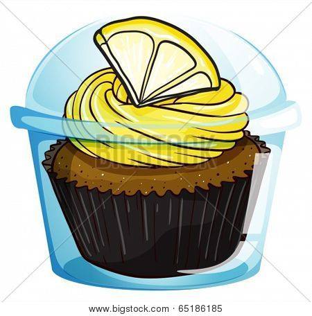 Illustration of a flavorful cupcake inside a covered cup on a white background