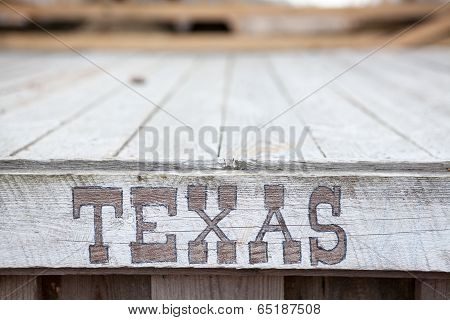 Texas Words On Wooden Plate