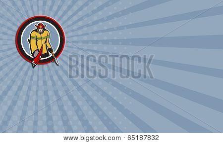 Business Card Fireman Carry Axe Hook Pike Pole Circle