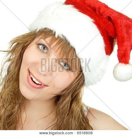 Happy Pretty Santa Woman