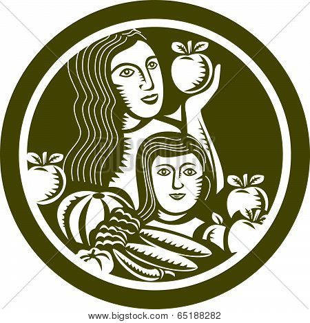 Woman Child Holding Apples Fruits Vegetables Circle Retro